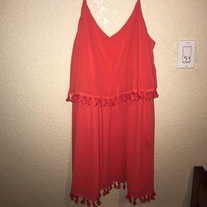 Spaghetti Strap Coral/Orange Dress